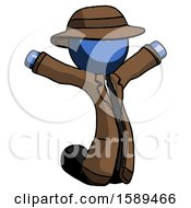 Blue Detective Man Jumping Or Kneeling With Gladness
