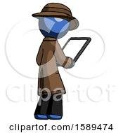 Blue Detective Man Looking At Tablet Device Computer Facing Away