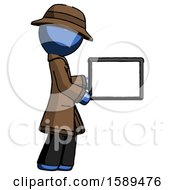 Blue Detective Man Show Tablet Device Computer To Viewer Blank Area