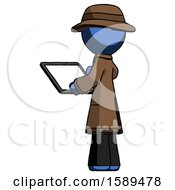 Blue Detective Man Looking At Tablet Device Computer With Back To Viewer