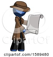 Blue Detective Man Holding Blueprints Or Scroll