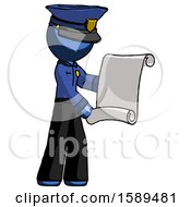 Blue Police Man Holding Blueprints Or Scroll