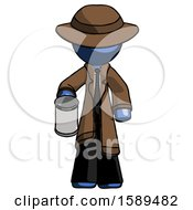 Blue Detective Man Begger Holding Can Begging Or Asking For Charity