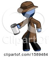 Blue Detective Man Begger Holding Can Begging Or Asking For Charity Facing Left