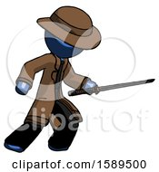 Blue Detective Man Stabbing With Ninja Sword Katana