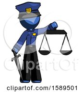 Blue Police Man Justice Concept With Scales And Sword Justicia Derived