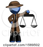 Blue Detective Man Holding Scales Of Justice