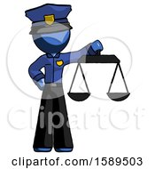 Blue Police Man Holding Scales Of Justice