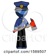 Blue Police Man Holding Red Fire Fighters Ax