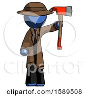 Blue Detective Man Holding Up Red Firefighters Ax
