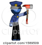 Blue Police Man Holding Up Red Firefighters Ax