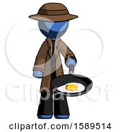 Blue Detective Man Frying Egg In Pan Or Wok