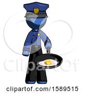 Poster, Art Print Of Blue Police Man Frying Egg In Pan Or Wok