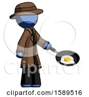 Blue Detective Man Frying Egg In Pan Or Wok Facing Right
