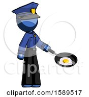 Poster, Art Print Of Blue Police Man Frying Egg In Pan Or Wok Facing Right
