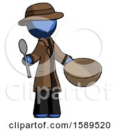 Blue Detective Man With Empty Bowl And Spoon Ready To Make Something