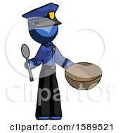 Blue Police Man With Empty Bowl And Spoon Ready To Make Something