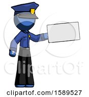 Blue Police Man Holding Large Envelope