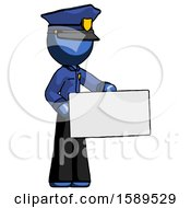 Blue Police Man Presenting Large Envelope
