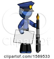 Blue Police Man Holding Large Envelope And Calligraphy Pen