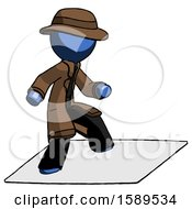 Blue Detective Man On Postage Envelope Surfing