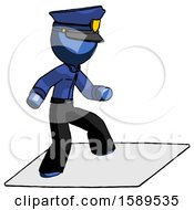 Blue Police Man On Postage Envelope Surfing
