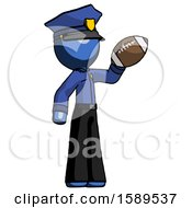 Blue Police Man Holding Football Up