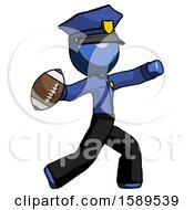 Blue Police Man Throwing Football