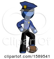 Blue Police Man Standing With Foot On Football