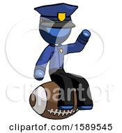 Blue Police Man Sitting On Giant Football