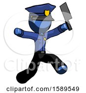 Blue Police Man Psycho Running With Meat Cleaver