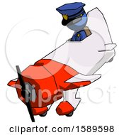 Blue Police Man In Geebee Stunt Plane Descending View