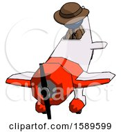 Blue Detective Man In Geebee Stunt Plane Descending Front Angle View