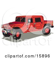 Big Red Hummer H2 Vehicle With A Truck Bed Clipart Illustration