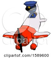 Blue Police Man In Geebee Stunt Plane Descending Front Angle View