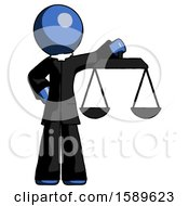 Blue Clergy Man Holding Scales Of Justice