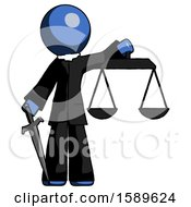 Blue Clergy Man Justice Concept With Scales And Sword Justicia Derived