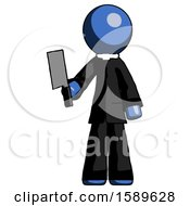 Blue Clergy Man Holding Meat Cleaver