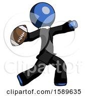 Blue Clergy Man Throwing Football
