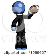 Blue Clergy Man Holding Football Up