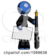 Blue Clergy Man Holding Large Envelope And Calligraphy Pen