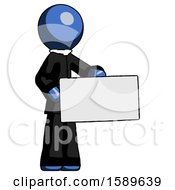 Blue Clergy Man Presenting Large Envelope