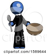 Blue Clergy Man With Empty Bowl And Spoon Ready To Make Something