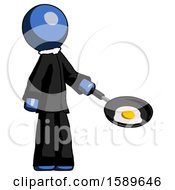 Blue Clergy Man Frying Egg In Pan Or Wok Facing Right