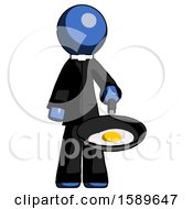 Poster, Art Print Of Blue Clergy Man Frying Egg In Pan Or Wok