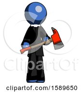 Blue Clergy Man Holding Red Fire Fighters Ax