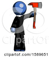 Blue Clergy Man Holding Up Red Firefighters Ax