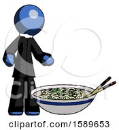 Blue Clergy Man And Noodle Bowl Giant Soup Restaraunt Concept