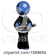 Blue Clergy Man Serving Or Presenting Noodles