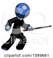Blue Clergy Man Stabbing With Ninja Sword Katana